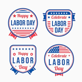 Flat usa labor day labels collection