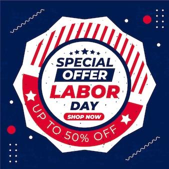 Flat usa labor day sale illustration