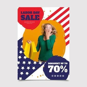 사진이있는 평면 미국 노동절 판매 세로 포스터 템플릿
