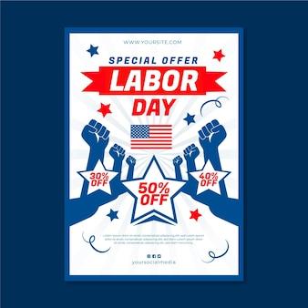 Плоский шаблон вертикального плаката продажи дня труда сша