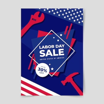 Flat usa labor day sale vertical poster template