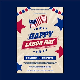 Flat usa labor day vertical flyer template