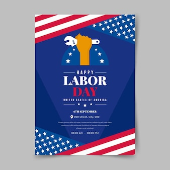 Flat usa labor day vertical poster template