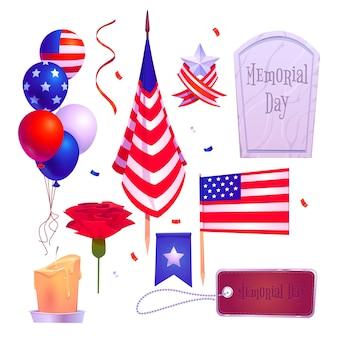 フラットアメリカ記念日要素コレクション