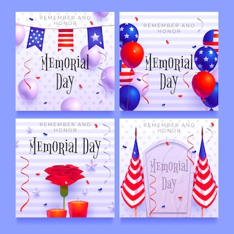Flat usa memorial day instagram posts collection