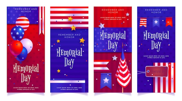 Flat usa memorial day instagram stories collection