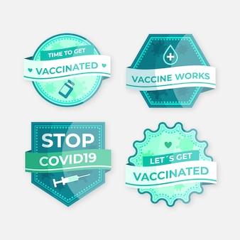 Collezione di badge campagna di vaccinazione piatta