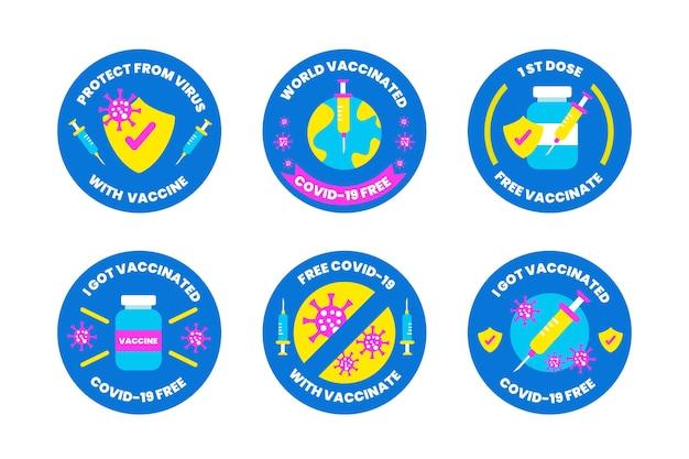 편평한 예방 접종 캠페인 배지 수집