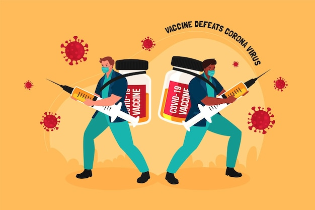 평면 예방 접종 캠페인 삽화