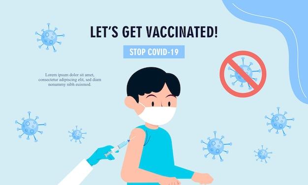 フラット予防接種キャンペーンイラストベクトルデザイン