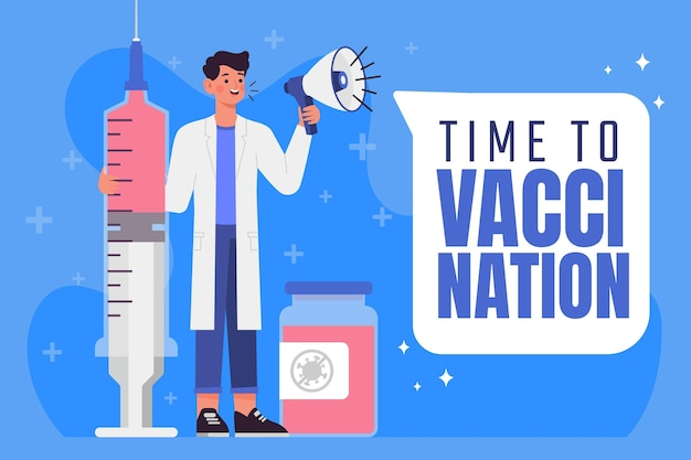 Flat vaccination campaign illustration
