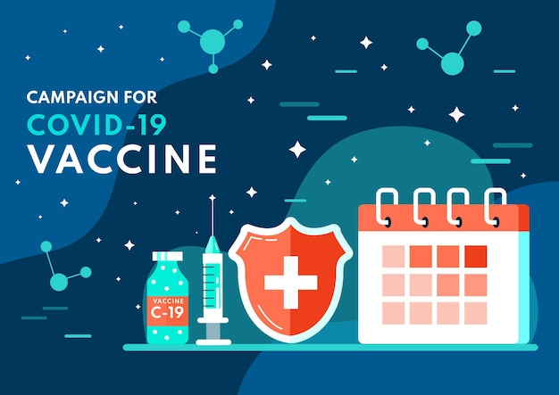 Плоская иллюстрация кампании вакцинации