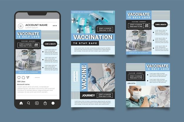 Пакет сообщений instagram с плоской вакциной