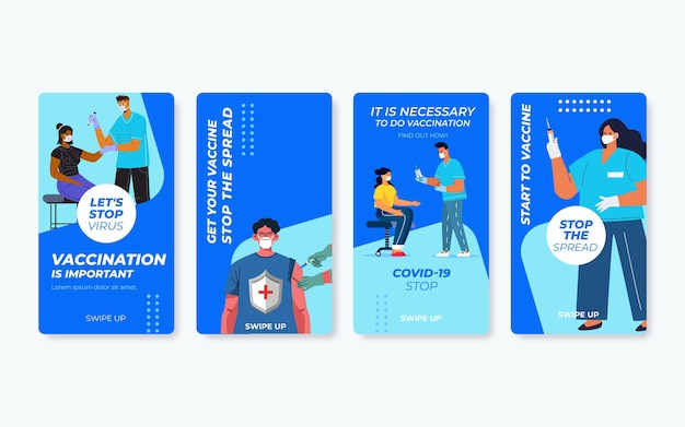 Flat vaccination instagram stories pack