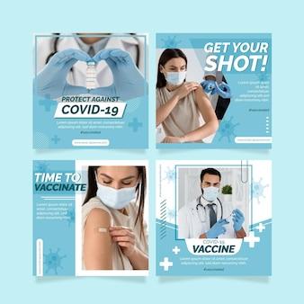 Raccolta di post instagram vaccino piatto con foto