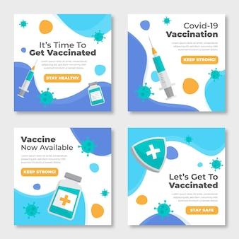 Set di post instagram vaccino piatto Vettore gratuito