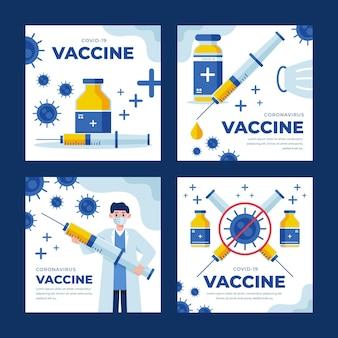 Raccolta di post di instagram di vaccino piatto