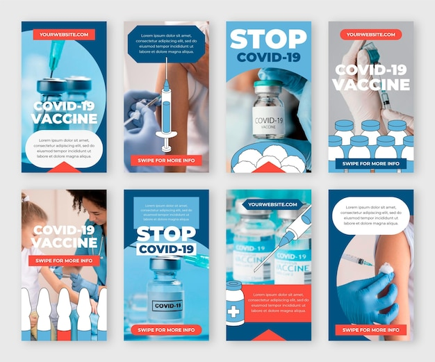 Flat vaccine instagram stories collection with photos