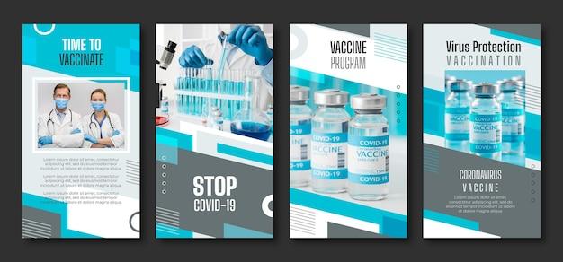 Raccolta di storie di instagram di vaccino piatto con foto