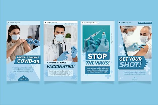 Raccolta di storie di instagram vaccino piatto con foto