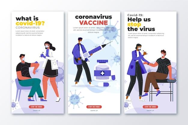 Raccolta di storie di instagram di vaccino piatto
