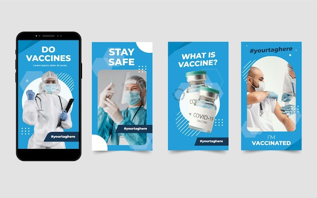 Flat vaccine instagram stories pack with photos