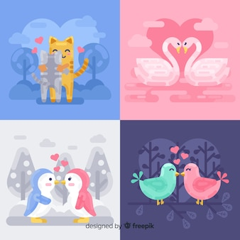 Flat valentine animal couple collection