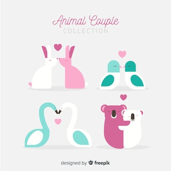 Flat valentine animal couple pack
