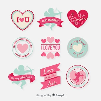 Flat valentine badge pack