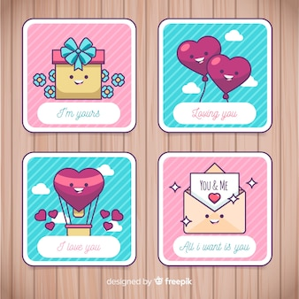 Flat valentine card collection