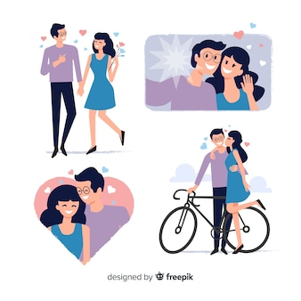 Flat valentine couple collection