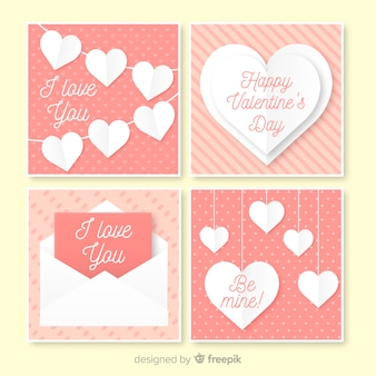 Flat valentine elements card set