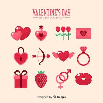 Flat valentine elements collection