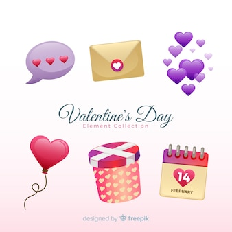 Flat valentine elements pack