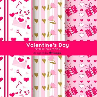 플랫 발렌타인 요소 패턴 팩