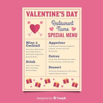 Flat valentine menu template