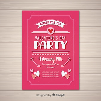 Flat valentine party poster