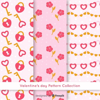 Flat valentine pattern collection