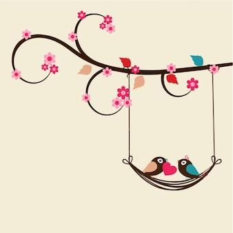 Flat valentine's background with romantic birds