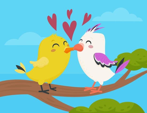 Плоская пара животных на день святого валентина