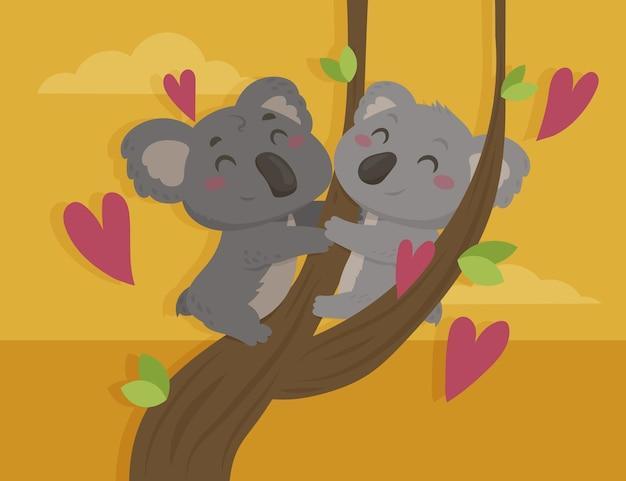 Flat valentine's day animal couple