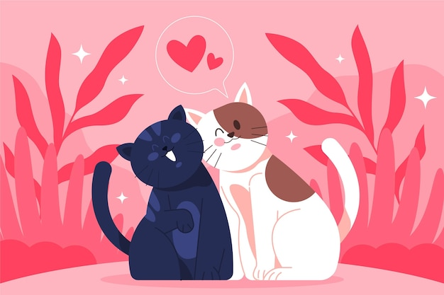 Flat valentine's day animal couple