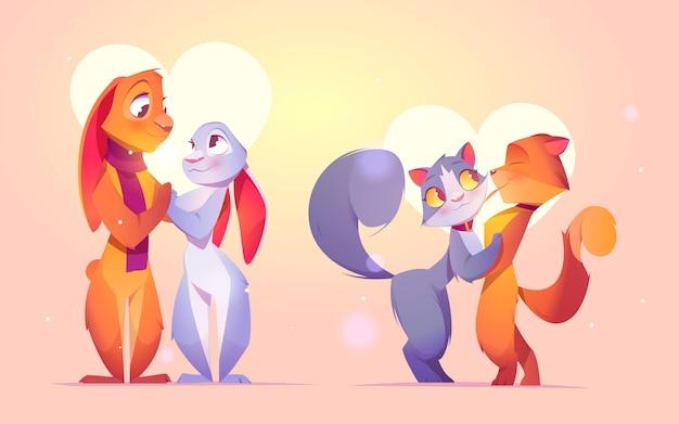 플랫 발렌타인 동물 커플