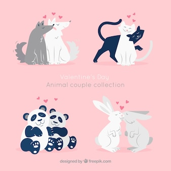 Flat valentine's day animal couples collection
