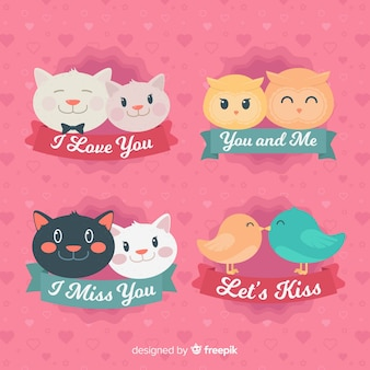 Flat valentine's day animals  couple pack