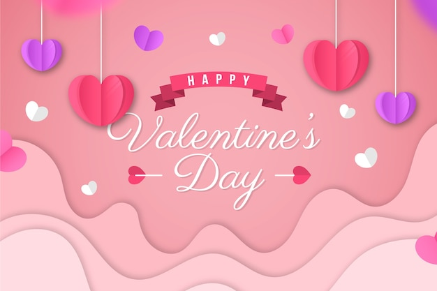 Flat valentine's day background and hanging hearts