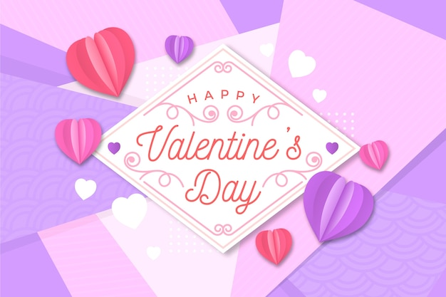 Flat valentine's day background and heart shaped balloons
