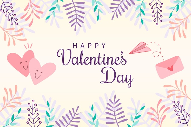 Flat valentine's day background with colorful leaves