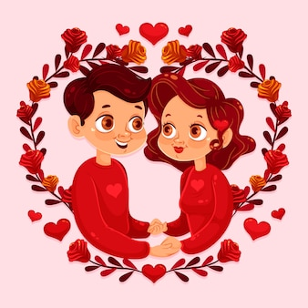 Flat valentine's day background with couple holding hands