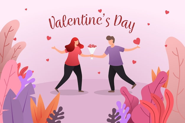 Flat valentine's day background with lovely couple